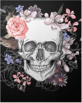 Skull and Flowers Day of The Dead Poster