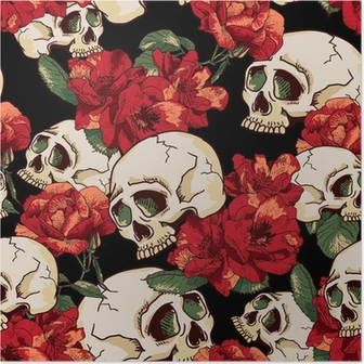 Skull and Flowers Seamless Background Poster