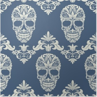 Skull Swirl Decorative Pattern Poster