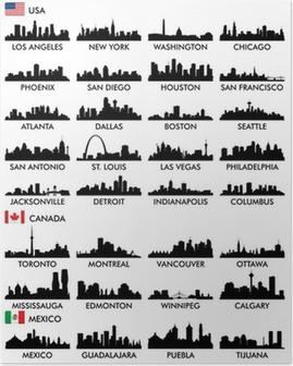 Poster Skyline van de stad Noord-Amerika