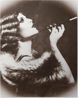 Smoking Retro Woman. Vintage Styled Black and White Photo Poster