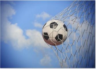 soccer ball shoot to goal Poster