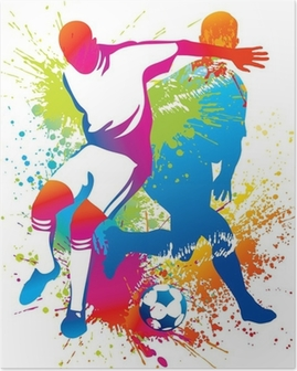 Soccer players with a soccer ball Poster
