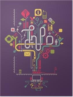 Poster Sociales graphiques d'information du réseau, arbre vecteur