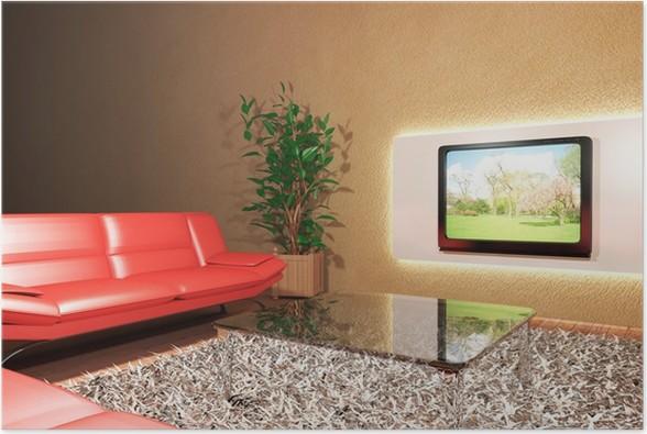 Soggiorno con divano rosso e televisione Poster