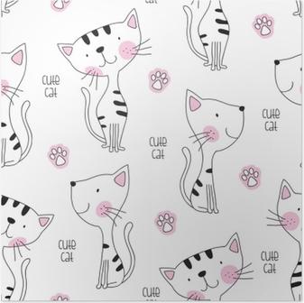 Poster Sömlös söt kattmönster vektor illustration