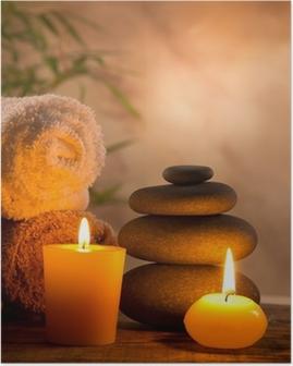 Poster Spa stilleven met aromatische kaarsen