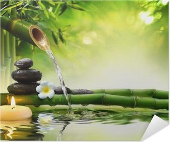 spa stones in garden with flow water Poster