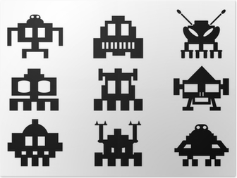 Poster Space invaders icons set - pixel monsters