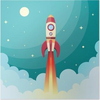 Space rocket print Poster