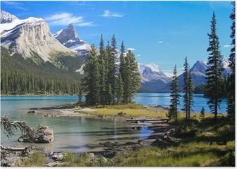Spirit Island auf dem Maligne Lake Poster