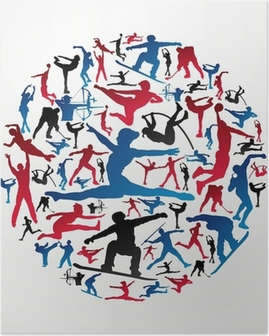 Poster Sport silhouettes cercle