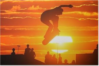 Poster Springen extreem hoge skateboard skater jongen