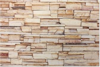 Póster Stacked muro de piedra