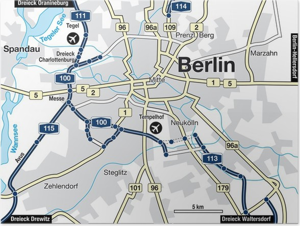 Stadtplan Berlin, Deutschland Poster • Pixers® • We live to change