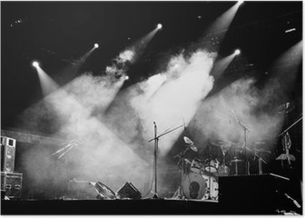 Stage In Lights - Black and White Poster