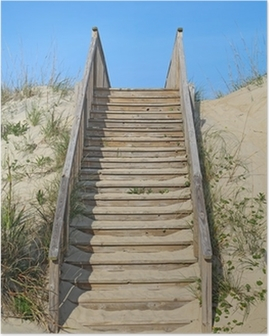 Stairway to a public beach access vertical Poster