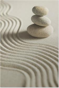Poster Stapel stenen op raked zand