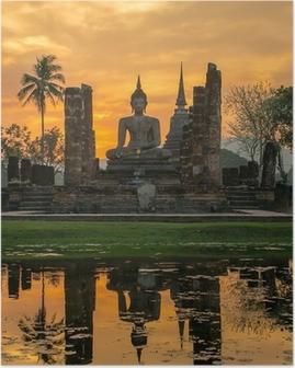 Poster Statue de Bouddha dans le temple Wat Mahathat, parc historique de Sukhothai,