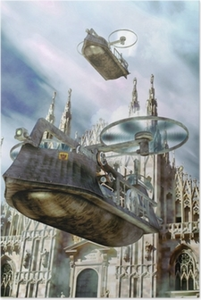 steampunk flying boat ship Poster