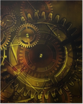 steampunk old gear mechanism on the background of old vintage pa Poster