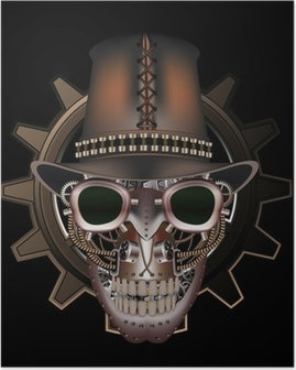 d308c7e9a2b Steampunk skull wearing top hat Poster