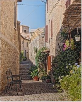 Poster Steegje met bloemen van een klein stadje in Umbrië, Italië