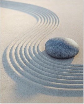Poster Stein und Wellen im Sand Hochformat