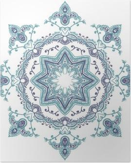 Stencil Mandala Indian Design Poster