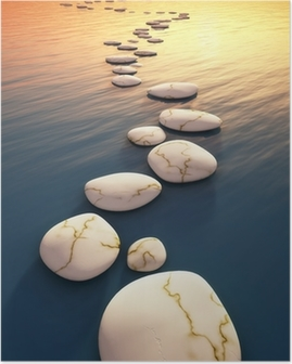 step stones sunset Poster