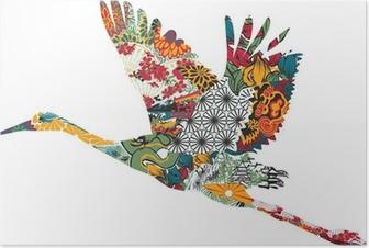 Stork in Japanese ornament Poster