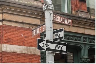 Poster Straatnaamborden en verkeerslichten in New York, USA
