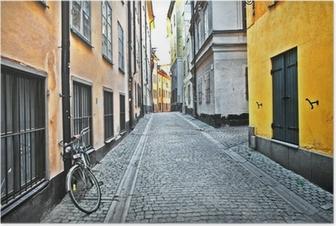 Poster Straten van de oude stad. Stockholm