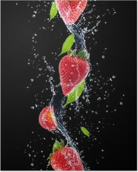 Strawberries in water splash, isolated on black background Poster