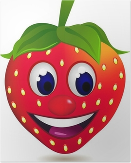 strawberry cartoon character Poster