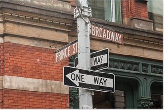Street signs and traffic lights in New York, USA Poster