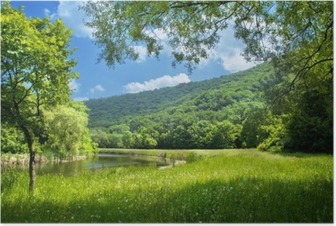 summer landscape with river and blue sky Poster