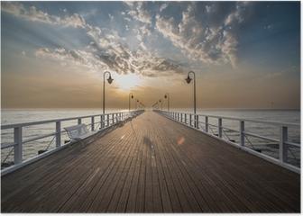 Sunrise on the pier Poster