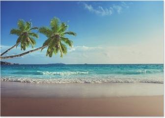 sunset on Seychelles beach Poster