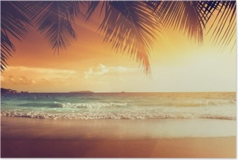 sunset on the beach of caribbean sea Poster