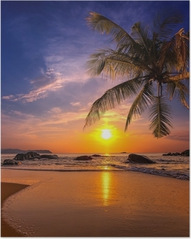 Sunset over the sea. Province Khao Lak in Thailand Poster
