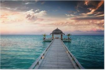 Poster Sunset / Sunrise Jetty at Maldives / Malediven