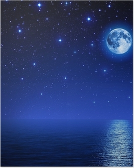 super moon in starry sky on sea Poster