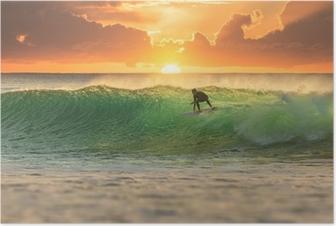 Poster Surfer bij zonsopkomst