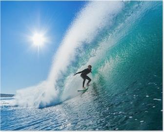 Surfer on Blue Ocean Wave Poster