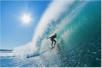 Poster Surfer sur le bleu Ocean Wave