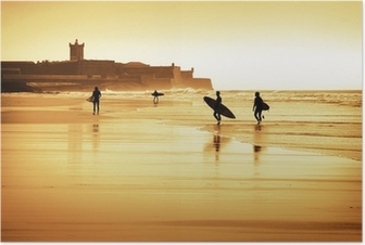 Surfers silhouettes Poster