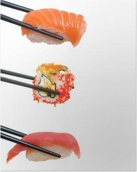 Poster Sushi avec des baguettes