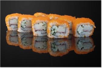 Poster Sushi avec le vol des œufs de poisson