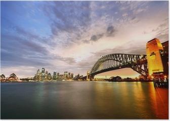 Sydney Harbor Panorama at twilight Poster